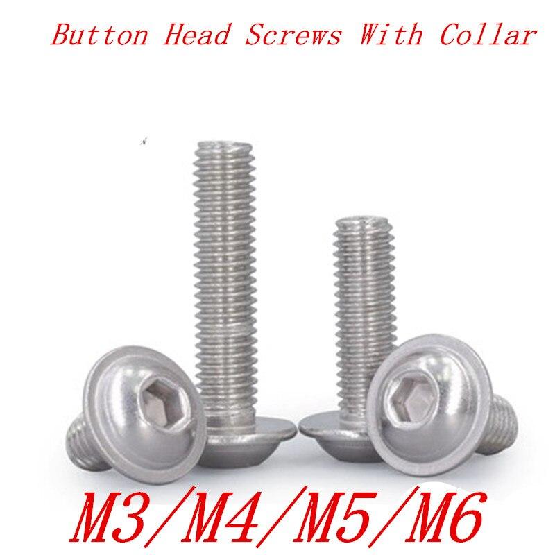 5-20 piezas M3 M4 M5 M6 M8 304 cabeza de brida de botón medio redondo de acero inoxidable con arandela interior hexagonal tornillo Allen tornillos