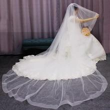 Long crin bord 2 T voile de mariée 3 mètres cathédrale blanc ivoire mariage voile avec peigne mariée accessoires