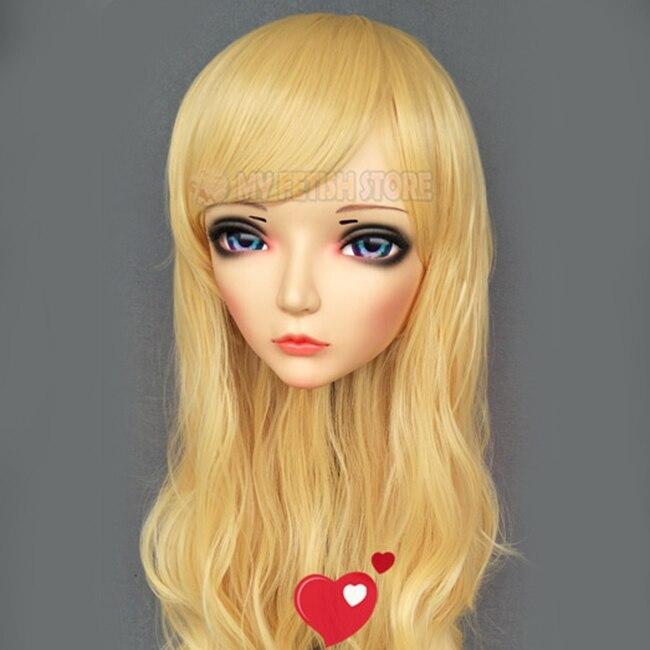 (CHUN-1)Female Sweet Girl Resin Half Head Kigurumi BJD Eyes Crossdress Cosplay Japanese Anime Role Lolita Mask With Eyes And Wig