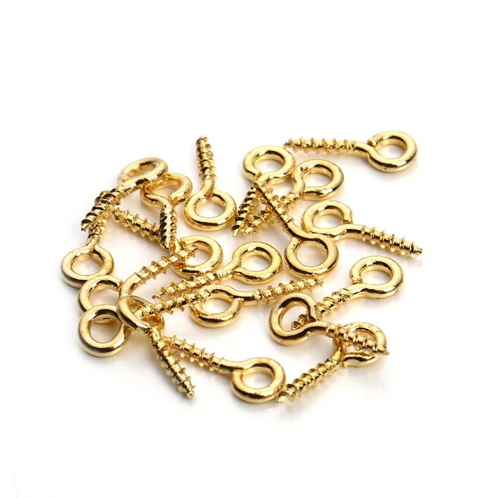 200 ps/lote 4x10mm Mini alfileres con ojetes Eyepins ganchos ojales tornillo roscado Metal joyería colgante cierres para hacer joyería DIY F256