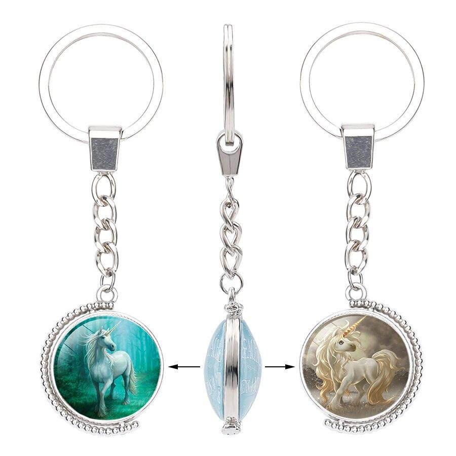 Dubbele Kanten Eenhoorn Glas Sleutelhanger Draaibare Hemelse Paard Vrouwen Zak Auto Sleutelhanger Houder Hanger Accessoire voor Meisjes