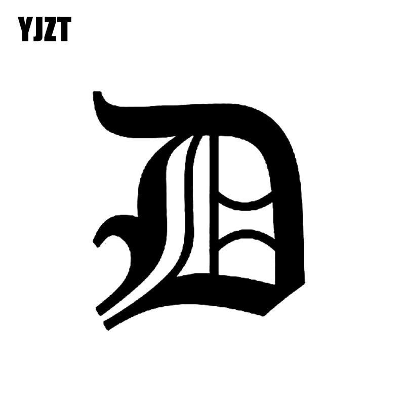 YJZT 12.9CM*14.5CM Fashion Old English Lettering D Vinyl Car Sticker Decal Black/Silver Accessories