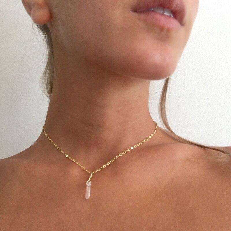 Small Jewelry Simple Choker, Mini Quartz Necklace, Bridesmaid Gift