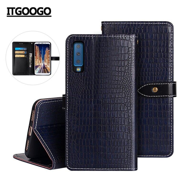 Caso para el modelo samsung galaxy A7 2018 cubierta de la caja del grano del cocodrilo de cuero Flip funda para Samsung A7 2018 A750F cubierta de teléfono caso