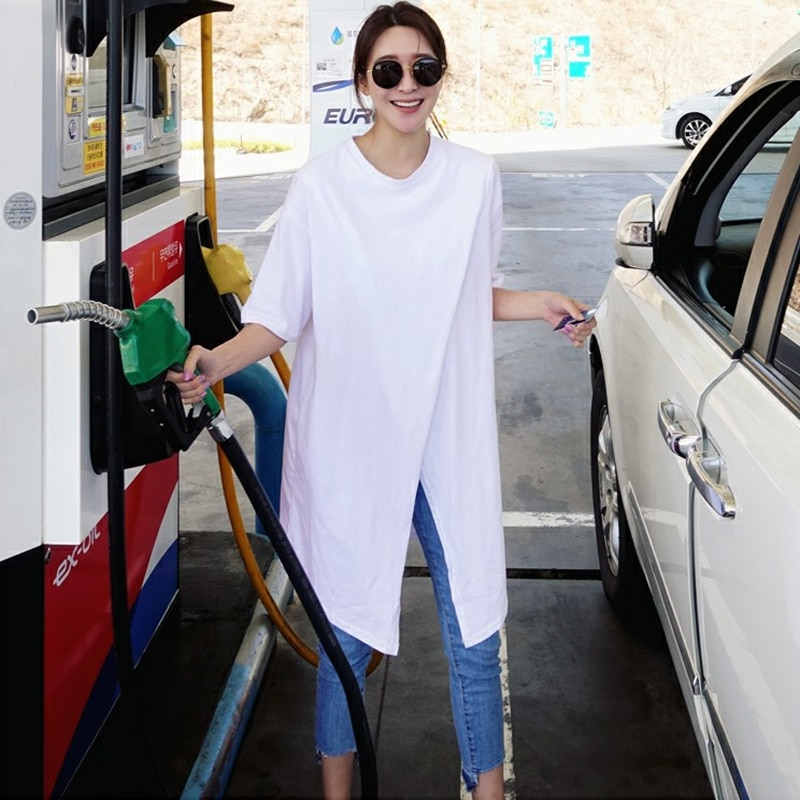 SuperAen Korean Style Summer New Short-sleeved T-shirt Female Solid Color Cotton Women T Shirts Fashion Loose Split Tops 2018