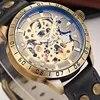 SHENHUA – montre-bracelet rétro en cuir pour hommes squelette mécanique rétro aiguilles lumineuses analogiques Bronze automatique