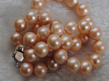 Великолепное круглое Золотое розовое жемчужное ожерелье из южного моря 13-14 мм 18 дюймов 925 пробы KKK