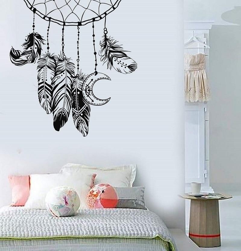 Calcomanía de vinilo para pared atrapasueños de plumas diseño de dormitorio vivero etiqueta dormitorio habitación decoración arte Mural papel 2WS22