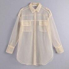 new women sexy pocket decoration transparent mesh blouse long sleeve smock shirts leisure sunscreen chemise blusas tops LS3964