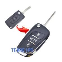 3 düğme modifiye anahtar Fob kabuk Citroen için C2 C3 C4 kapak Coupe VTR Berlingo C6C8 uzaktan çevirme katlanır anahtarsız kılıf