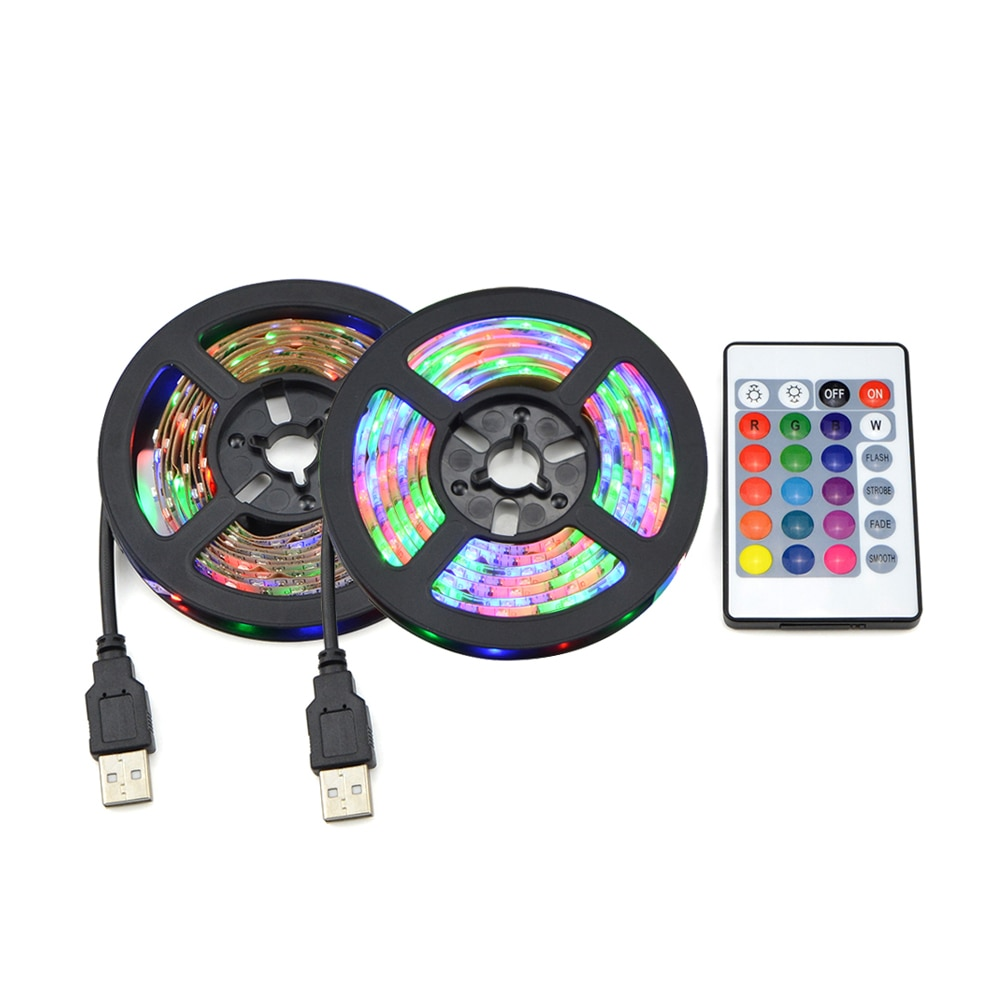 DC 5V USB 2835 LED RGB tira lámpara RGB libro bombilla TV Fondo decoración iluminación cinta escritorio decoración cuerdas 1M 2M 3M 4M 5M