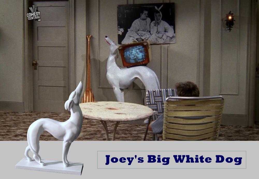 Petit chien blanc Joey   Décoration de bureau en résine, grand chien blanc, décoration de voiture, nouveauté Friends