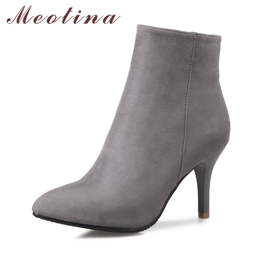 Meotina, botines de diseño para mujer, botas de tacón alto, Grace, zapatos con punta estrecha, zapatos de tacón alto, botas de mujer con cremallera, gris, rojo, talla grande, 12 46