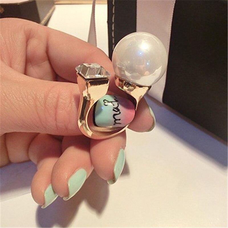 Romad Luxus Ring Einstellbare Korean Version Perle Ringe Weibliche Einfache Große Perle Platz Schmuck Geschenk
