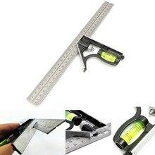 JIGUOOR outils de mesure précis combinaison Aluminium carré bricolage atelier matériel Angle niveau à bulle 12