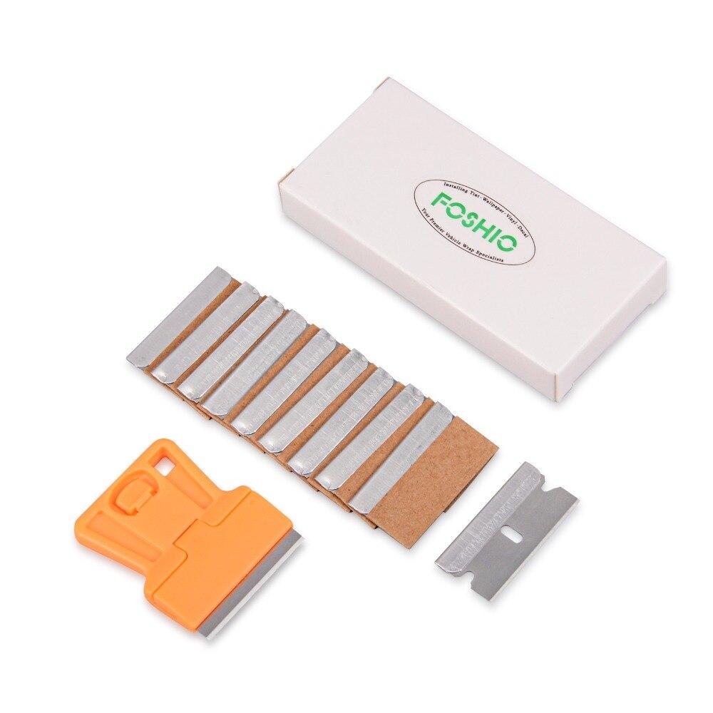 FOSHIO Orange Razor Scraper+10pcs Razor Blades Vinyl Car Wrapping Tools Old Glue Car Sticker Film Remover Window Clean Squeegee