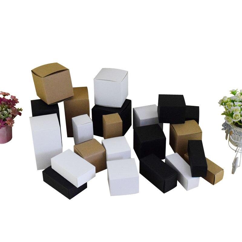 50 unids/lote-8*8 * (4-14) H papel blanco vacío cajas de papel kraft para cosméticos manualidad para regalo cajas de almacenamiento tubos de válvula embalaje