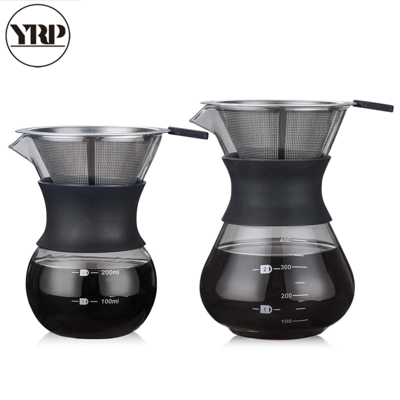 Hervidor de café YRP V60glass con filtro de acero inoxidable, destilación por goteo, cafetera, cafetera