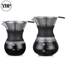 YRP V60glass kahve su ısıtıcısı paslanmaz çelik filtre ile damla demleme sıcak bira cezve damlatıcı Barista kahve makinesi üzerine dökün