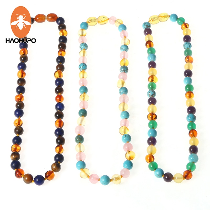 HAOHUPO 16 New Amber Bracelet/Necklace for Baby Mom Baltic Amber Bead Women Jewelry Gift Natural Amber with Gemstone Supplier yoowei 5mm amber women necklace for christmas new year gift round gold baltic amber jewelry s925 silver beads boutique wholesale