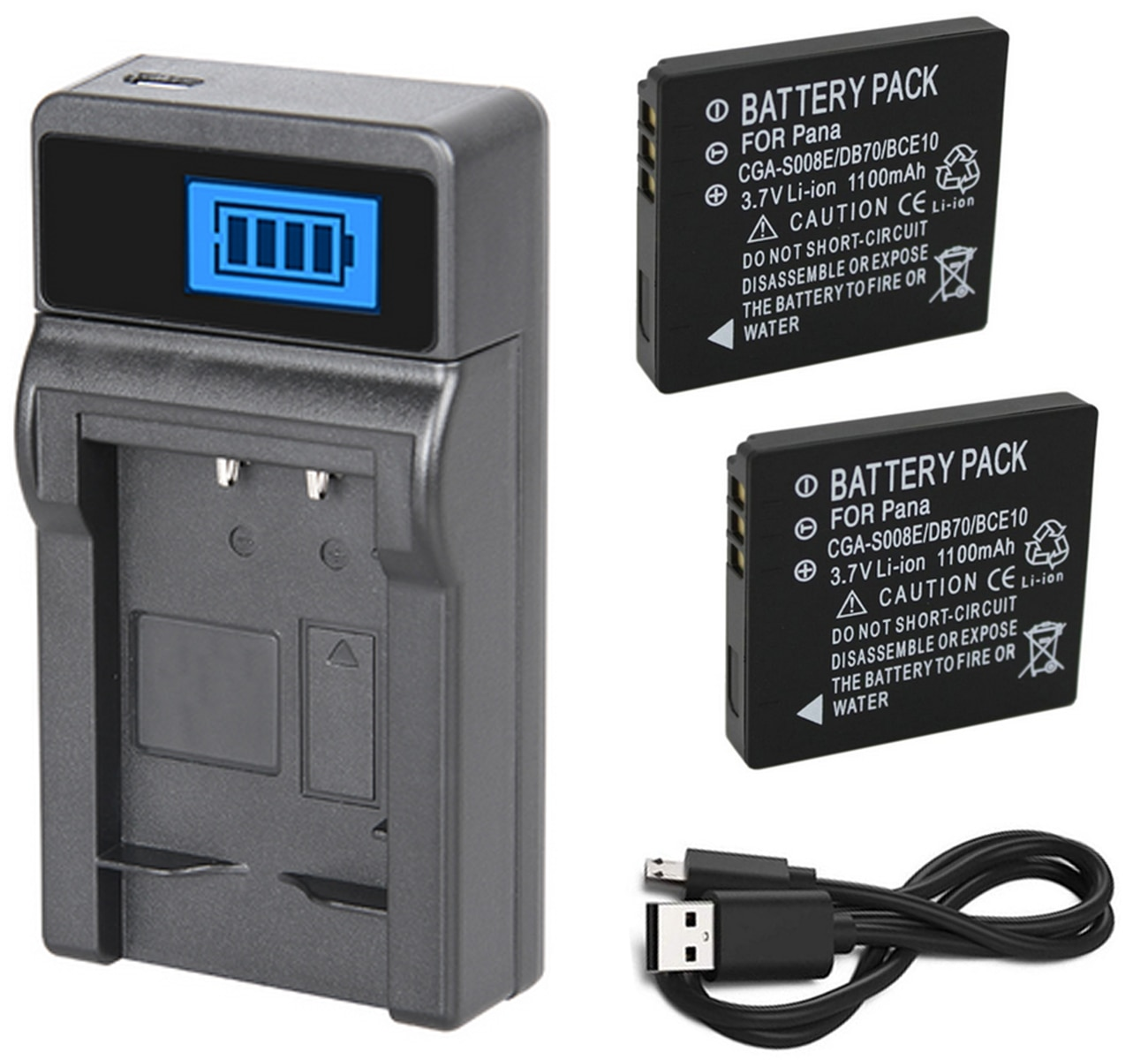 Batería (2 paquetes) + cargador para Panasonic Lumix DMC-FX30, DMC-FX33, DMC-FX35, DMC-FX36, DMC-FX37, DMC-FX38 cámara Digital