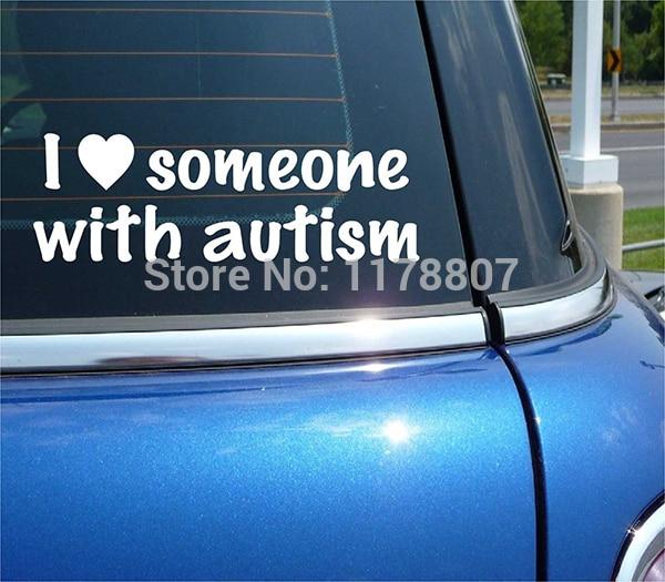 22cm x 7.6cm jaime quelquun avec autisme conscience coeur quelquun vinyle autocollant autocollant Art voiture fenêtre mignon graphique 13 couleurs