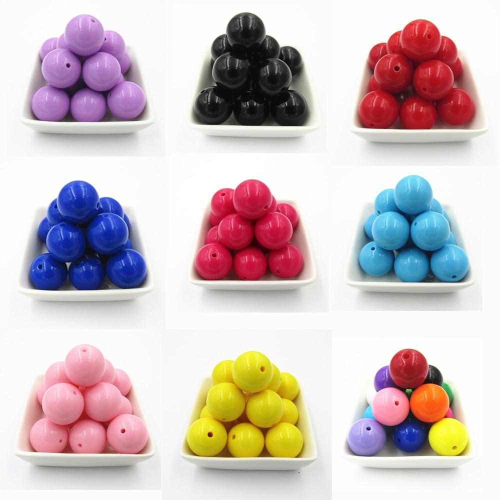 Wholesale 6mm/8mm/10mm/12mm/14mm/16mm/18mm/20mm Acrylic Solid Chunky Beads/Bubblegum Solid Round Beads/DIY/Hand Made Beads