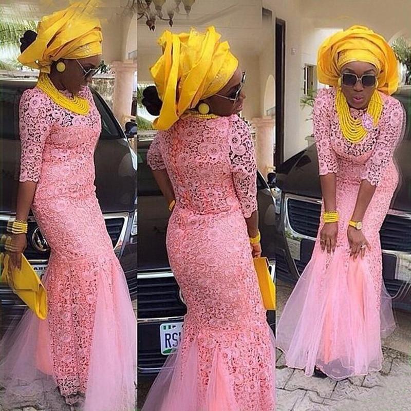 Pink Lace African Evening Dress Mermaid Half Sleeve Elegant Long Prom Dresses Vestido de Festa Longo Abendkleider Customized