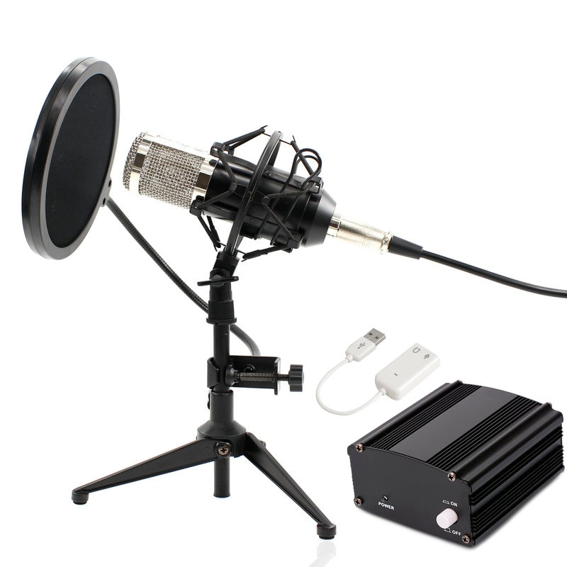 BM800 Computer Microphone Wired Condenser Sound Karaoke Microphone With Metal Tripod For Recording Braodcasting BM-800 Mic