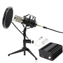 Bm800 컴퓨터 마이크 유선 콘덴서 사운드 가라오케 마이크 녹음을위한 금속 삼각대와 함께 braodcasting BM-800 mic