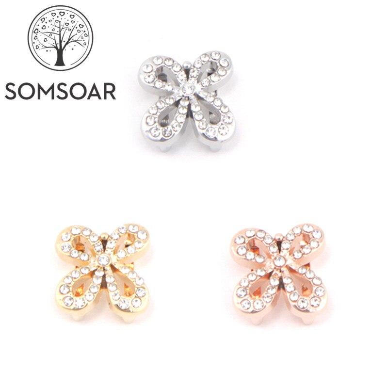 Somsoar biżuteria motyl kwiat slajdów Charms fit 10mm siatki bransoletka skórzana bransoletka akcesoria do bransoletki Making 10 sztuk/partia