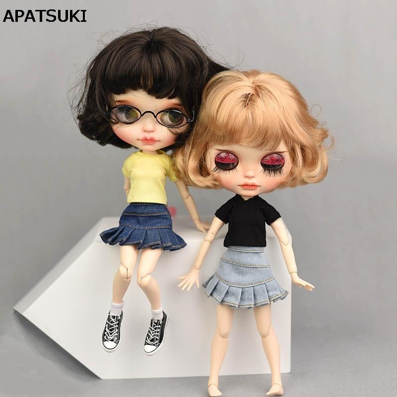 Vestido casual roupas para blythe boneca camiseta topo jeans shorts azul a linha saia para blyth licca boneca roupas 1/6 boneca acessórios