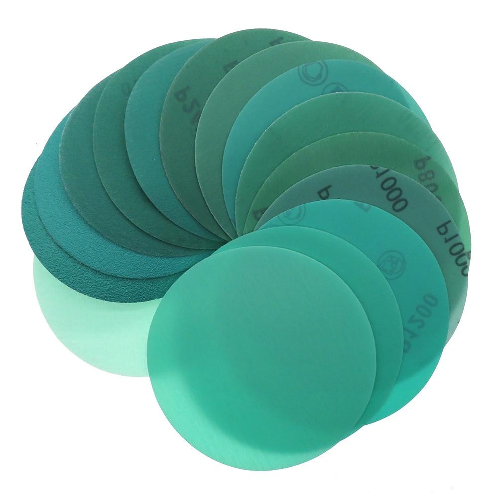 10 vnt. 5 colių 125 mm nuo 60 iki 2000 grūdėtos kablio ir kilpos plėvelės žalios spalvos švitrinio popieriaus šlifavimo diskai aliuminio oksido abrazyviniai orbitiniai šlifuokliai