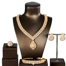 LAN PALACE luxury wedding jewelry copper alloy  cubic zirconia  jewellery set  earrings necklace ring bracelet free shipping