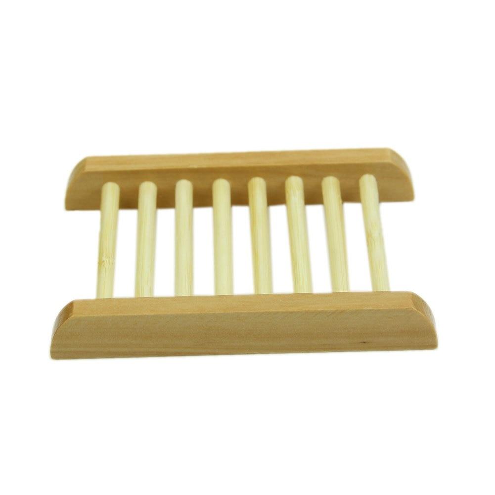 ¡Promoción! Jabonera trapezoidal de madera Natural de color madera, soporte de bandeja de jabón para baño, plato de ducha de 12x9x1,7 cm