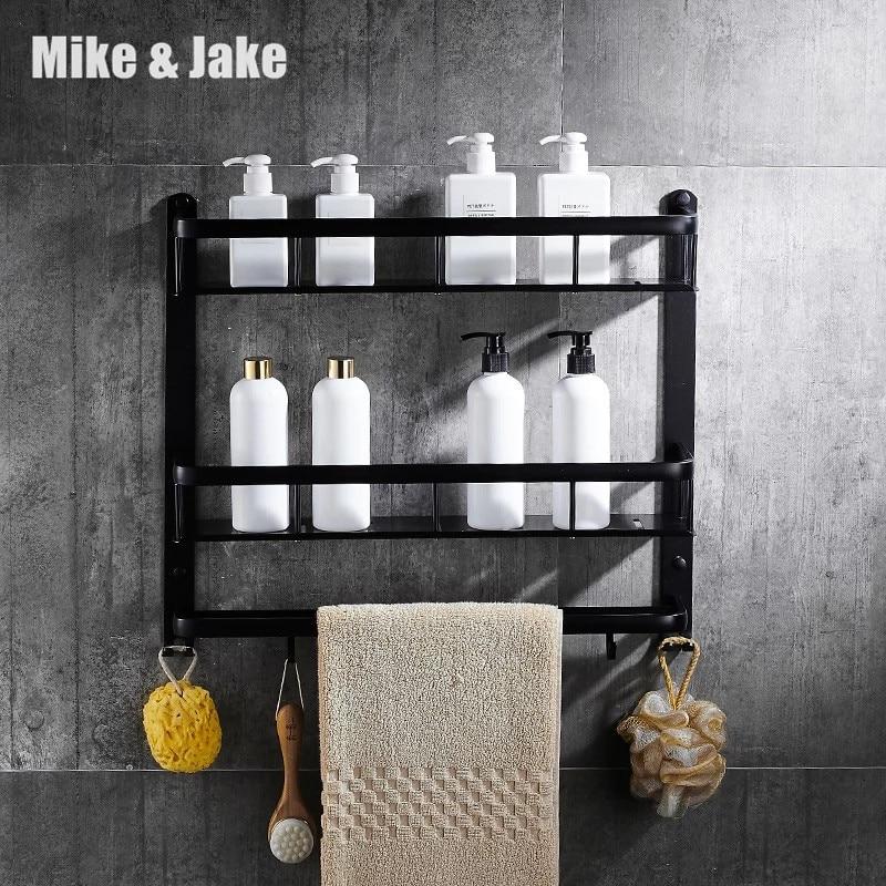 Черная полка для ванной комнаты, алюминиевая угловая полка, держатель для ванной комнаты, корзина для душевой комнаты, аксессуары для ванно...