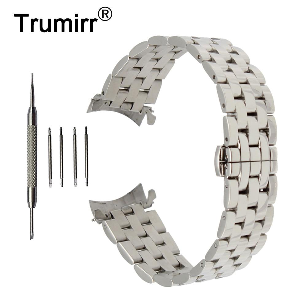 Ремешок для часов из нержавеющей стали с закругленными концами, 18 мм, 20 мм, 22 мм, 24 мм, ремешок для часов с бабочкой, браслет на запястье