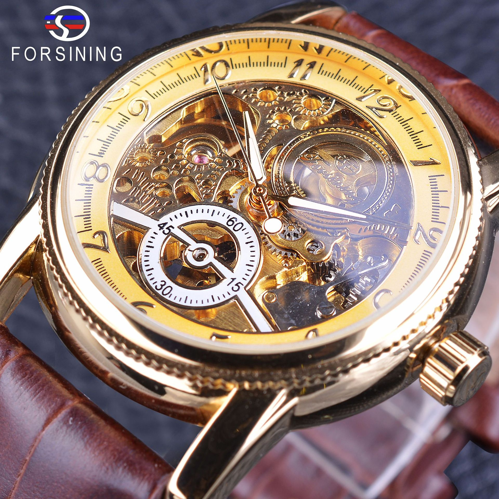Marca Winner caja dorada de lujo diseño Casual correa de cuero marrón para hombre relojes huecos esqueleto mecánico transparente reloj