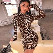 Hugcitar lange mouw hoge hals luipaard print sexy bodycon mini jurk 2019 herfst winter vrouwen mode Christmas party kleding