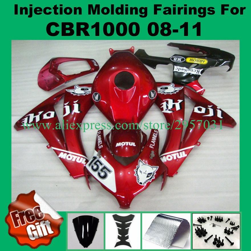 براغي لهوندا ، طقم انسيابية بلاستيك ABS للدراجة النارية ، أحمر ، لهوندا CBR 1000RR 2008 2009 2010 2011 CBR 1000 RR ، 155