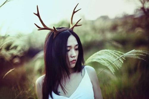 Steampunk Halloween Antlers Brown Deer Horns Hair Band Headband Goth Cosplay Accessories Headdress