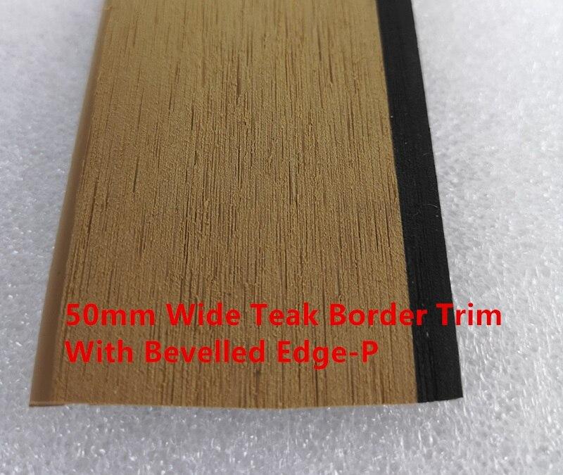 Barco náutico sintético PVC negro calafateo teca cubierta borde embellecedor con borde biselado 50mm * 5mm * 25 metros