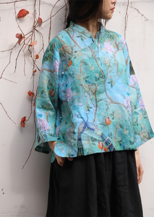 NOVEDAD DE VERANO Vintage Floral dibujo de pavo real Collar de pie cuentas botón camisa de lino, tradicional elegante señoras té suelto desgaste blusas