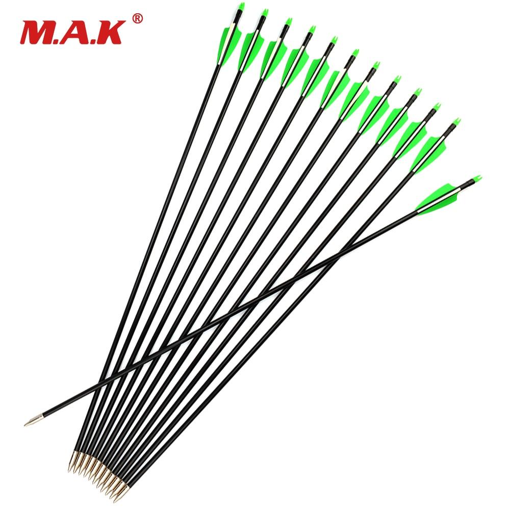 6/12/24 Uds. 30 fibra de vidrio de pulgadas flecha columna 400 con 2 verdes 1 pluma blanca para tiro con arco