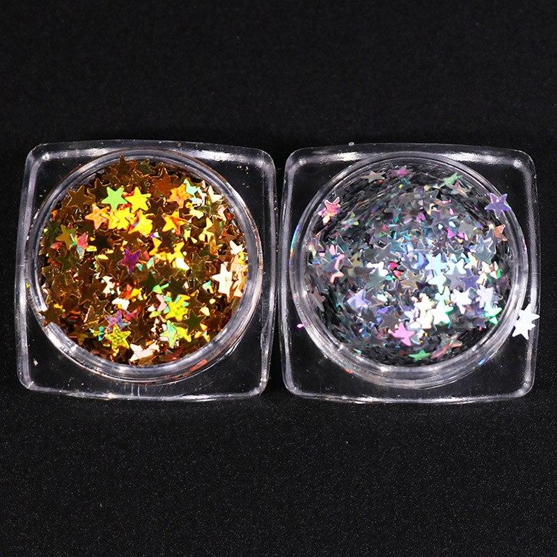 1 funda 2 colores 3mm estrella de cinco puntas brillo de uñas hielo Mylar Shell hoja herramientas de decoración de uñas