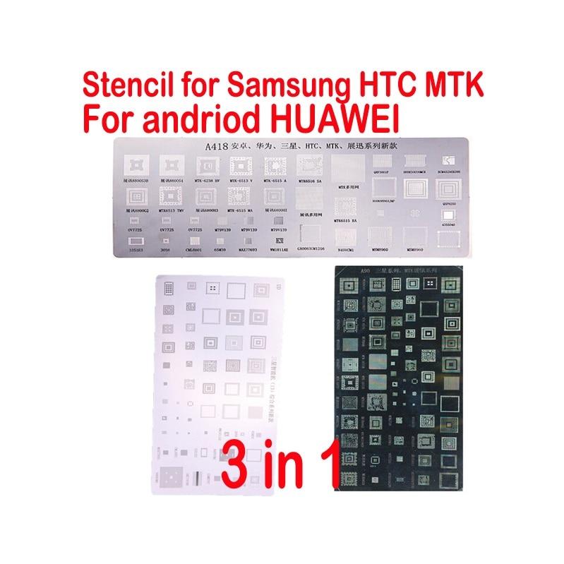 3 pièces pochoirs BGA universels pour HTC samsung huawei Android série MTK puce IC reballing réparation kits de reballage outils