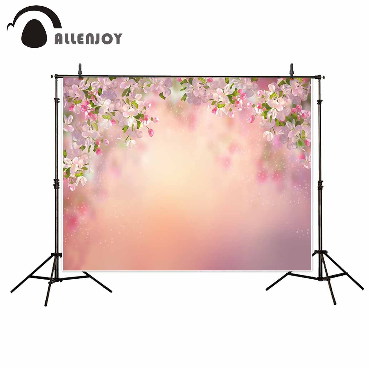Allenjoy photography backdrops Pink flowers spring wedding mariage Valentine's Day photographic background photocall photophone allenjoy photography backdrops background stage dancers pink green bokeh watercolor baby shower newborn props spring princess