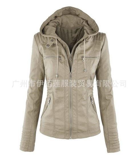 2018 European and American fashion long sleeve jacket female jacket detachable lapel longsleeve solid color zipper short leather enlarge