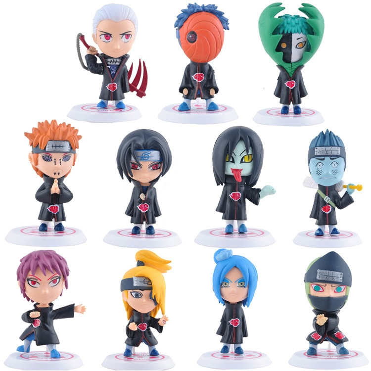 11 unids/set PVC Naruto Akatsuki Pein Conan Sasori Deidara Uchiha Itachi Zetsu Orochimaru Anime figura coleccionable modelo