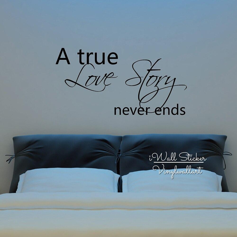 Pegatina para pared con frase Love, calcomanías creativas de pared de frase romántica, una historia de amor verdadera, nunca termina DIY, vinilo cortado, decoración de pared removible Q46